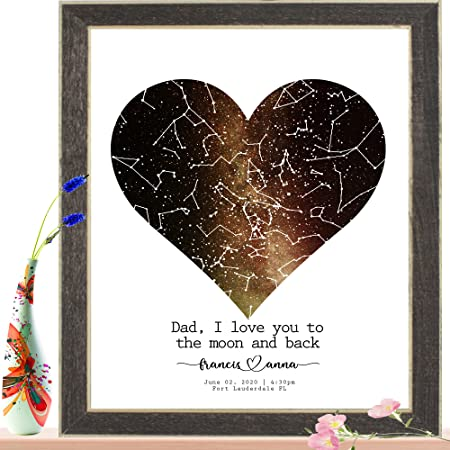 Heart Gold Custom Anniversary gift Wedding Customized Constellation map Star Picture Multiple Sizes - Framed // Unframed Engagement Mothers Day gift Personalized Star Map for specific date