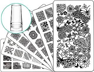 Nail Stamping Plate Nail Stamper - Ejiubas Nail Art Stamp 3 Pcs Nail Stamper Plates 1 Clear Nail Art Stamper DIY Nail Stamp Kit EJB-01 06 08