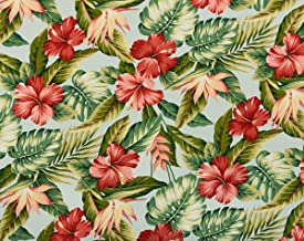 Trendtex Fabrics Hawaiian Tropical Hibiscus Bird of Paradise with Leaves Sky Rayon Cotton by The Yard
