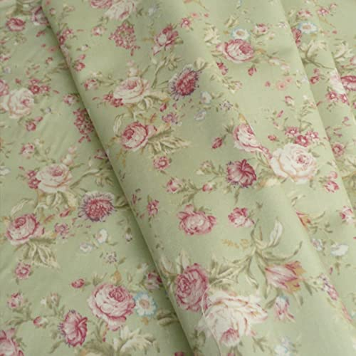 9efad26fd7 Dusky Pink Rose Floral Print woven cotton poplin vintage style Fabric -  Sage Green Colourway -