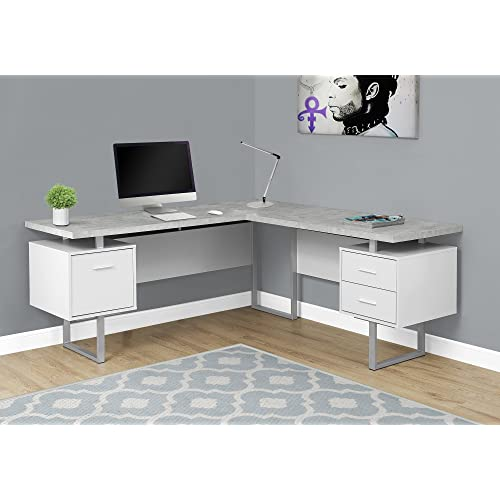 Modern office look Stefes Monarch Specialties 7307 Computer Desk Left Or Right Facing Whitecement Look 70 Freedmans Office Furniture Modern Office Desks Amazoncom