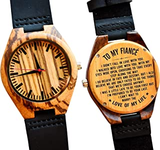 to My Fiance Gift – Engraved Wooden Wrist Watch for Men Wood Personalized Wedding Anniversary Birthday Gifts