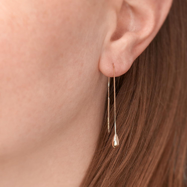 Ross-Simons 14kt Yellow Gold Teardrop Threader Earrings