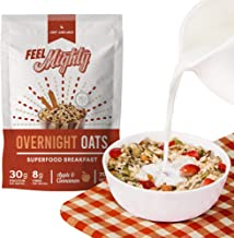 Feel Mighty: 30g Protein Overnight Oats: Apple & Cinnamon - Box of 6 packs + 1 Shaker Bottle! Low Calorie, Superfood Rich ...