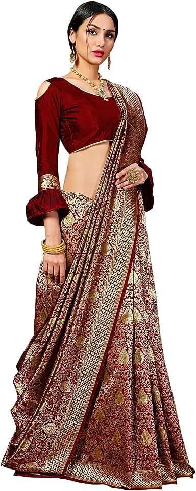 Indian Pehnavaa Women's Banarasi Art Silk Saree With Unstitched Blouse Piece Saree