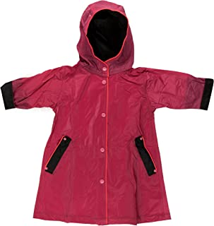 Fit Rite Boys Girls Hooded Waterproof Long Raincoat Full Length Rain Jacket for Children and Toddler with Reflective Stripes