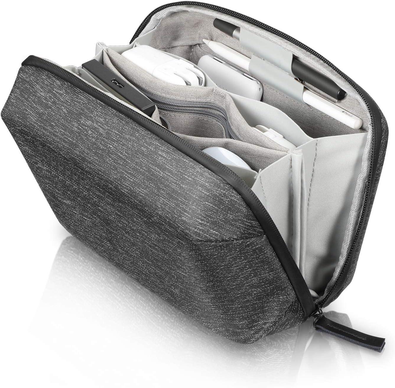 SITHON Bolsa Cables de Viaje, Organizador Estuche de Electrónicos Accesorios, Amacenamiento Funda de Viaje para Cargador, PowerBank, Disco Duro, Cable USB, Adaptadores, Negro