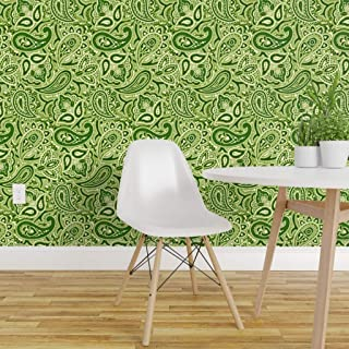 Spoonflower Peel and Stick Removable Wallpaper, Green 70S 60S Retro Vintage Paisley Funky Print, Self-Adhesive Wallpaper 24in x 36in Roll