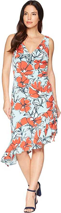 Maggy London Sketch Poppy Printed Jersey Side Ruched Dress