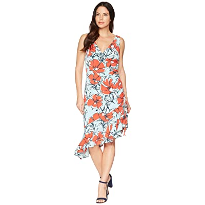 Maggy London Sketch Poppy Printed Jersey Side Ruched Dress (Aqua/Bright Orange) Women