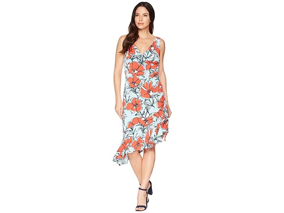 Maggy London Sketch Poppy Printed Jersey Side Ruched Dress (Aqua/Bright Orange) Women