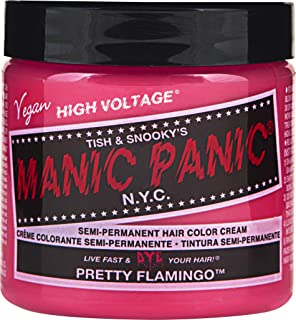 Manic Panic Pretty Flamingo Pink Hair Color Cream – Classic High Voltage Semi-Permanent Hair Dye - Vivid, Pink Shade - For Dark, Light Hair – Vegan, PPD & Ammonia-Free - Ready-to-Use, No-Mix Coloring