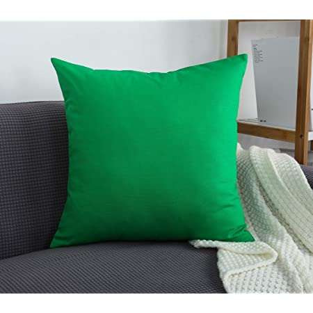 Tangdepot Cotton Solid Throw Pillow Covers 12 X 12 Bright Green Furniture Decor