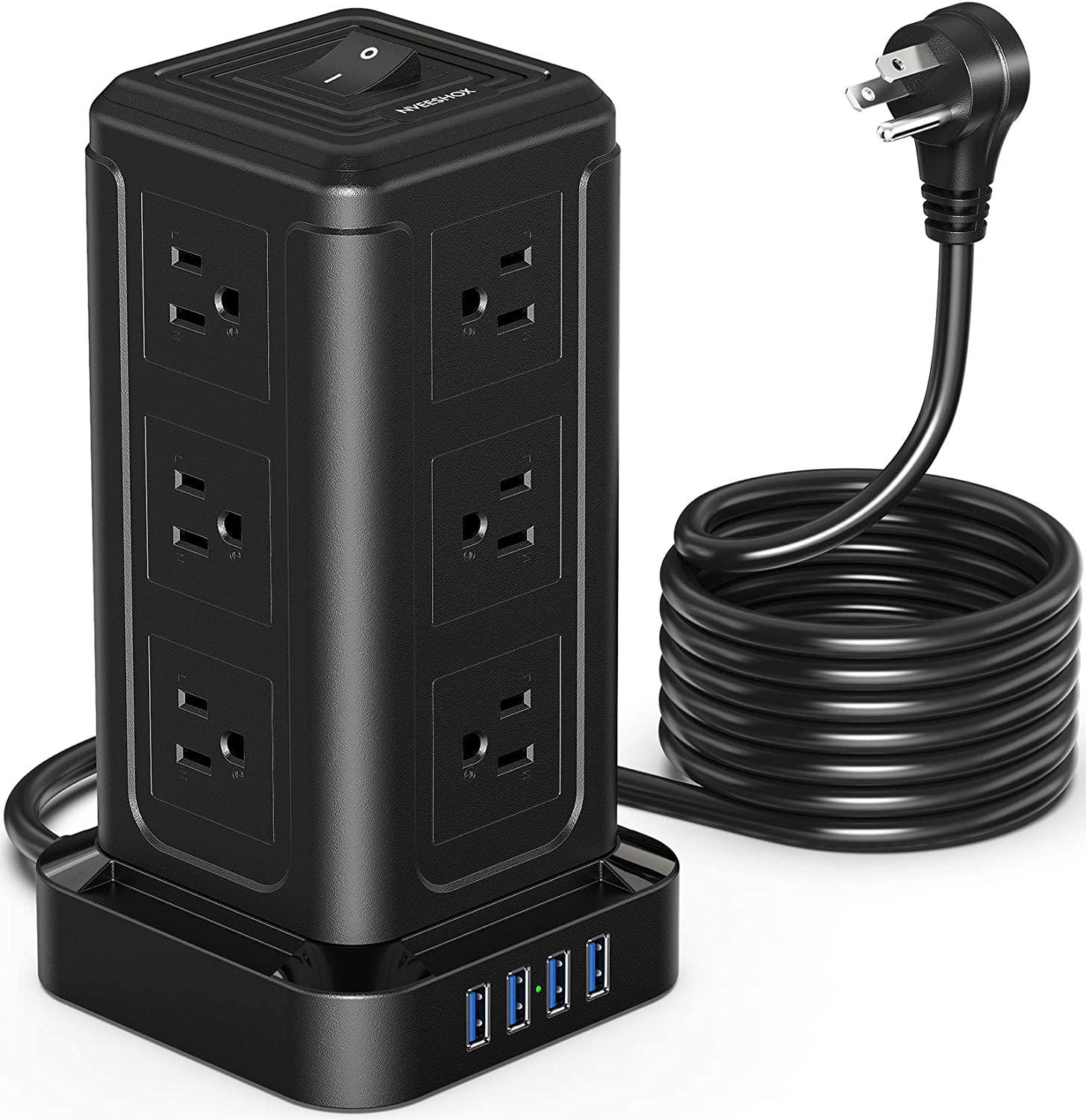 Power Strip Tower, Surge Protector Power Strip with 12 AC Outlets, 4 USB Ports and 10ft Extension Cord, Charging Station 1080J Overload Protection Fire Proof for PC Tablet Computer Home Office