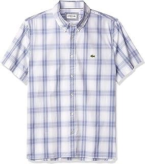 Lacoste Men's Short Sleeve Slim Fit Plaid Woven Shirt
