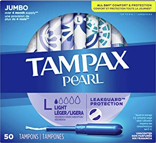 Tampax Pearl Tampons with Plastic Applicator, Light Absorbency, Unscented, 50 Count, Pack of 4 (200 Count Total)