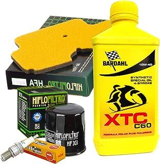 Wartungsset Bardahl XTC C60 10W40 Ölfilter Luftfilter Zündkerzen für Kawasaki Kle Versys 650 2008/2014