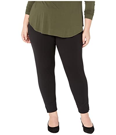 HUE Plus Size Ponte 7/8 Leggings (Black) Women