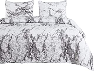 Wake In Cloud - Marble Quilt Set, Black White and Gray Grey Modern Pattern Printed, Soft Microfiber Bedspread Coverlet Bedding (3pcs, Queen Size)