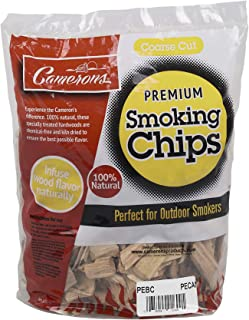 Camerons Smoking Wood Chips (Pecan)- Coarse Kiln Dried BBQ Chips- 100% All Natural Barbecue Smoker Shavings- 2lb Bag