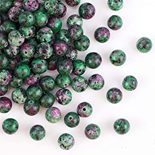 OLYCRAFT 100pcs 8mm Natural Ruby Zoisite Beads Epidote Jasper Bead Strands Round Loose Gemstone Beads Energy Stone for Bra...