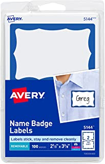 Avery Print or Write Name Badge Labels with Blue Border , 2-11/32