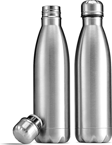 Premium Stainless Steel Water Bottle Set Of 2 17 Ounce Sleek Insulated Water Bottle Keeps Hot And Cold LeakProof BPA Free Lids Sweat Proof Water Bottles Great For Travel Picnic Camping Etc