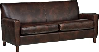 Rivet Lawson Mid-Century Modern Angled Leather Loveseat Sofa Couch, 78