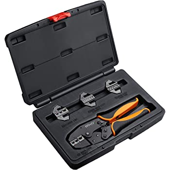 Crimping Tool Set 5 PCS by Wirefy - Ratcheting Wire Crimper Tool with Interchangeable Dies - For Heat Shrink Connectors, Non-Insulated, Ferrule Terminals