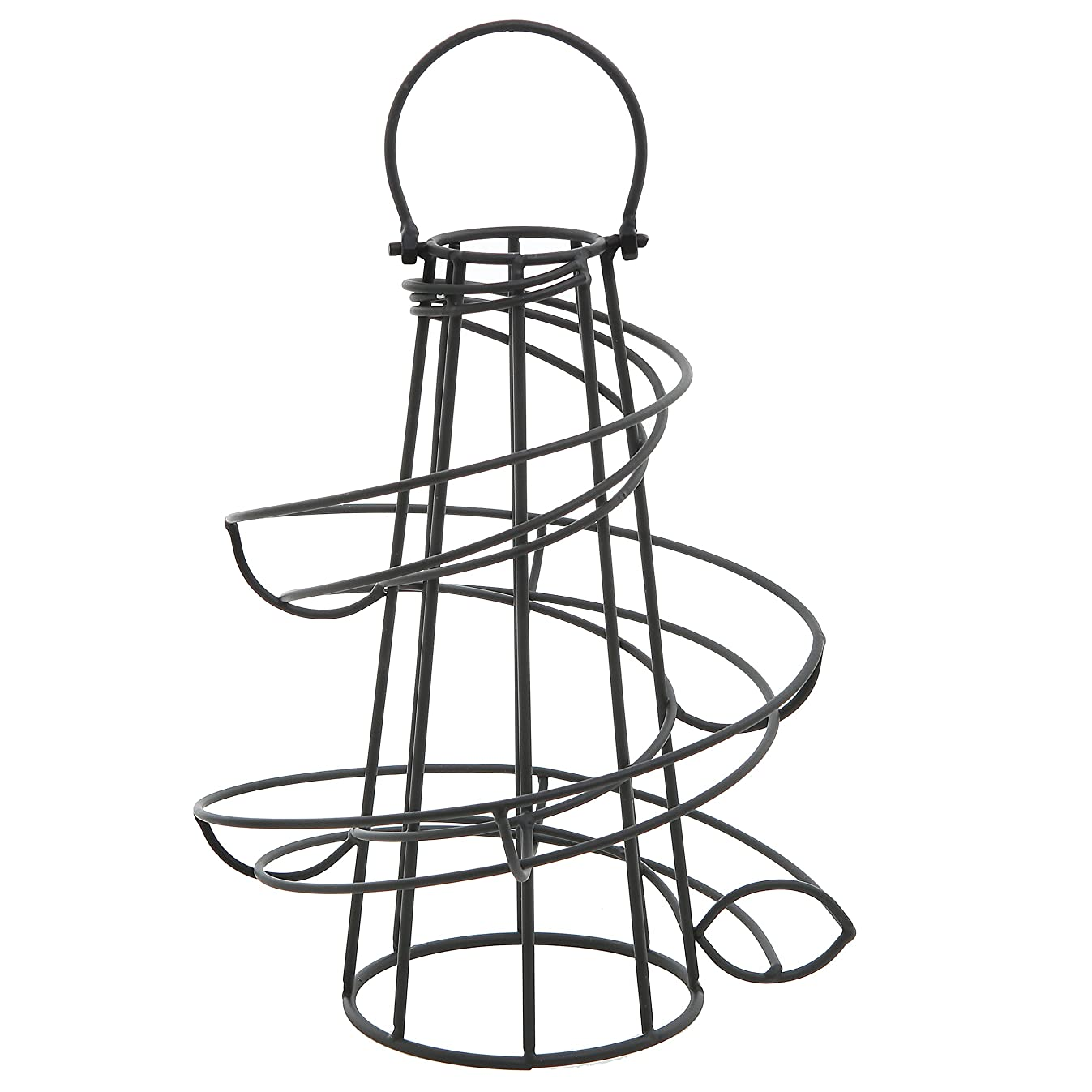MyGift Deluxe Modern Spiraling Design Black Metal Freestanding Egg Skelter/Dispenser Rack
