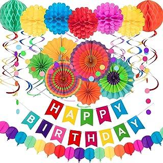 Whaline 28Pcs Decoraciones de Cumpleaños Coloridas,Ventiladores de Papel Colgantes,Remolino Colgante,Cadena de Lunares,Flores de Pompones,Banner de Feliz Cumpleaños,Guirnalda de Papel para Fiesta