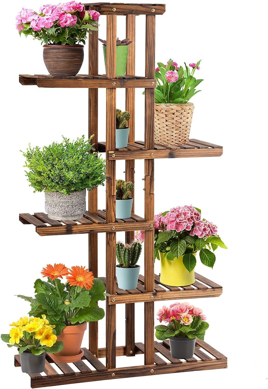 Giantex Our shop most popular Flower Rack Wood Plant Stand Pots Fresno Mall Shelves Bons 7 11