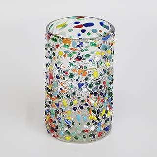Mexican Blown Glass Drinking Glasses Confetti Rocks (Set of 6)