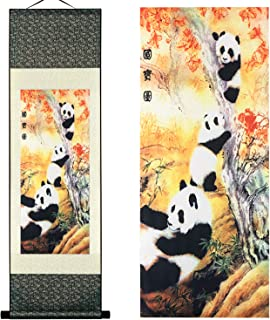 UNIQUELOVER Asian Silk Scroll & Home Decorate Chinese National Treasure-Pandas Picture Scroll & Wall Scroll Hanging Artwork Painting