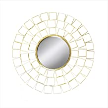 Slate & Rose Wall Mirror, Metal Gold, Diameter 90cm x Depth 3cm