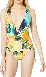 Lucky Brand Women's Strappy V-Neck Slimming Fit One Piece Swimsuit One Piece Swimsuit
