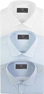Marks & Spencer Men's 3 Pack Slim Fit Long Sleeve Shirt, Blue Mix