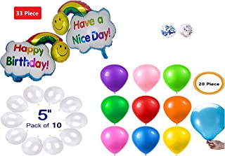 Rainbow Cloud Birthday Theme Giant Foil Balloon 32 inches With Different Bouquets (33 Piece), includes 20 colored Latex and 10 white mini balloons for Theme/Rainbow/Unicorn/celebration/Holiday/winter/house party/school