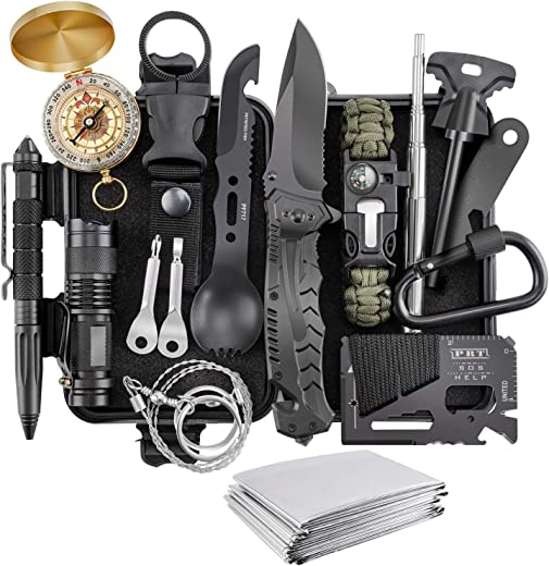 Gift for Fathers Day Dad Men Husband Him, Survival Kit 17 in 1, Survival Gear Tool Cool Gadgets Emergency Tactical Equipment Supplies Kits Stocking Stuffers for Families Hiking Camping Adventures