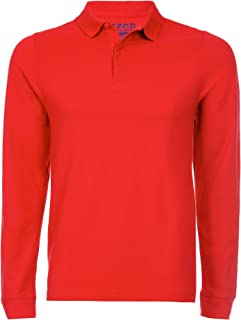Men's Long Sleeve Pique Polo, Red, Large(38/39)