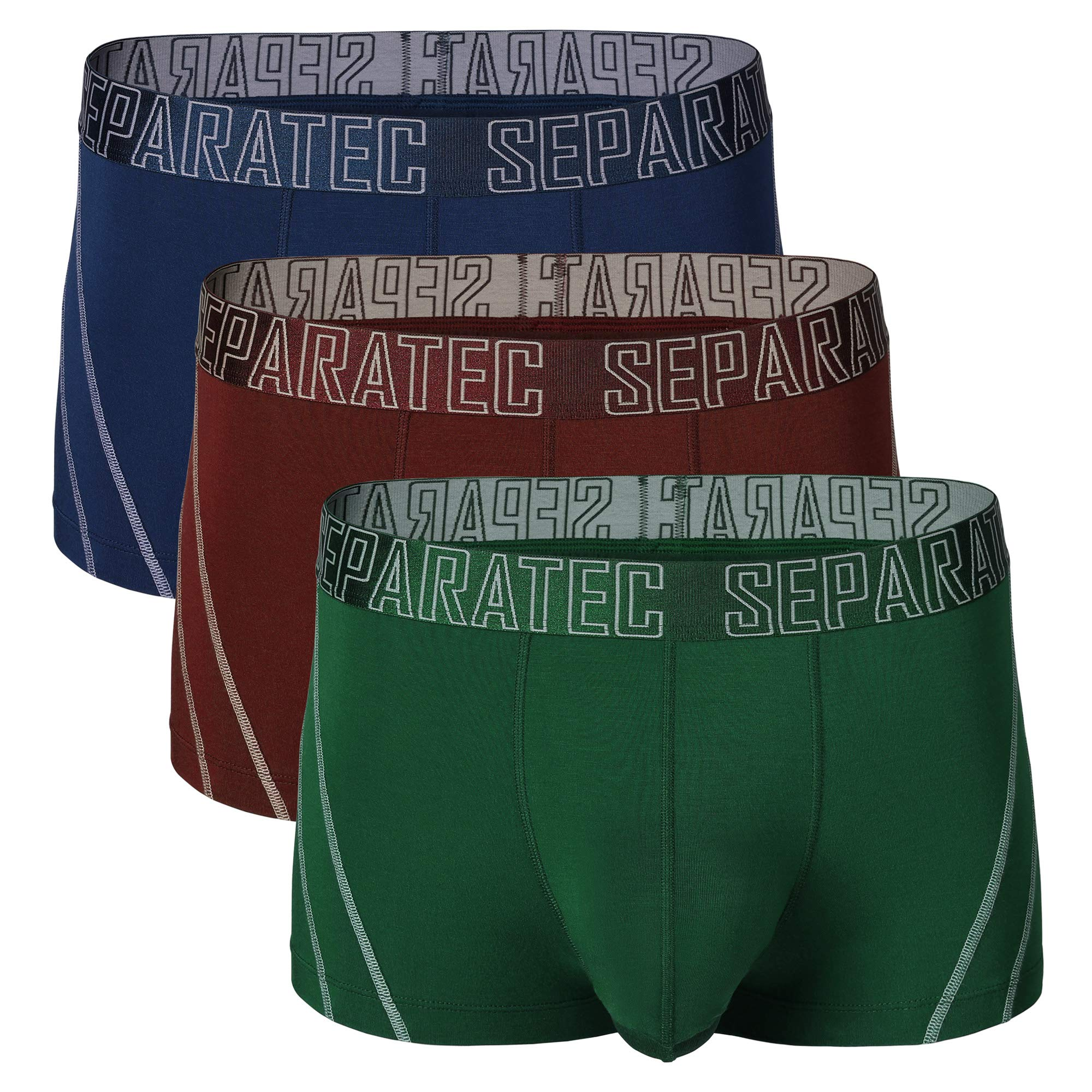 Separatec Mens Underwear Stylish Striped Pattern Smooth Cotton Trunks 3 Pack