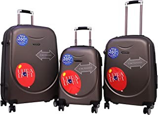 Travel Way Luggage Set of 3 Small, Medium & Large Check-in 4 Wheel Hard Trolley Bags (Coffee)