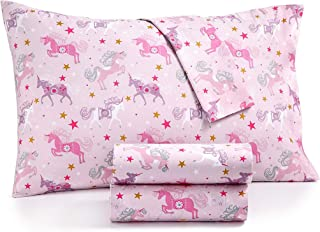 Kids Zone Ornate Pink Unicorn Sheets with Gold and White Star Print Purple and Magenta on Light Pink (Full)