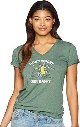Don't Worry Ski Happy Cool Vee T-Shirt