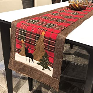 DAPUTOU Christmas Table Runner Plaid Cotton for Restaurant Table,Coffee Table Decoration,Holiday Christmas Tree Table Runner Home Decoration,14x70inch. (Red, 14x70inch)