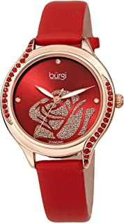 Burgi Swarovski Colorful Crystals Women's Watch - Rose Cut-Out Dial with Glitter Powder -Genuine Leather Skinny Strap - 4 Diamond Markers Patterned Crystal Bezel-BUR257