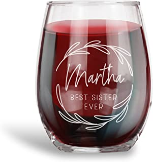 Birthday Gifts for Women and Men, Personalized 15 oz. Stemless Wine Glass | Best Ever|Engraved with your NAME and TITLE, Funny Vintage Ruby Anniversary Gift Ideas