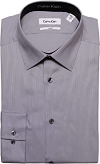 Calvin Klein Tone/Tone Stripe Slim Fit 100% Cotton Solid Dress Shirt - 33T0476