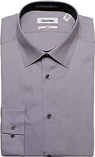 Calvin Klein Tone/Tone Stripe Slim Fit 100% Cotton Solid Dress Shirt - 33T0476