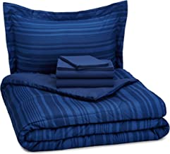 AmazonBasics 5-Piece Bed-In-A-Bag Comforter Bedding Set - Twin or Twin XL, Blue Calvin Stripe, Microfiber, Ultra-Soft